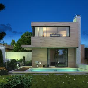 3The design of the facades of modern villas